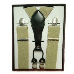 12 Bulk Solid Khaki Suspenders
