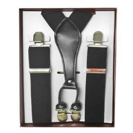 12 Bulk Solid Black Suspenders