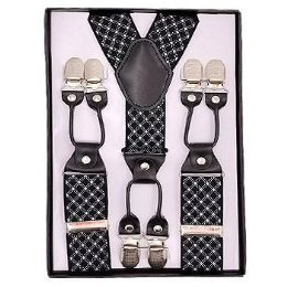 12 Bulk Pattern Suspenders Black & White