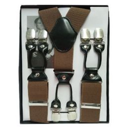 12 Bulk Solid Suspenders Brown