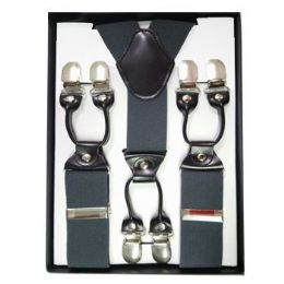 12 Bulk Solid Suspenders Gray