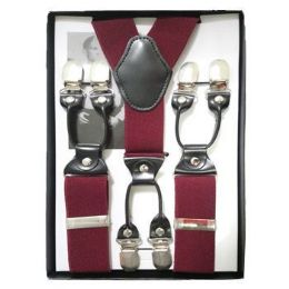 12 Bulk Solid Suspenders Burgundy