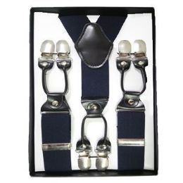 12 Bulk Solid Suspenders Navy