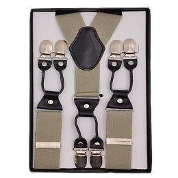 12 Bulk Solid Suspenders Khaki