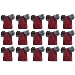 15 Bulk Yacht & Smith Womens 3 Inch Double Pom Pom Ribbed Beanie Hat, Wine Value Pack