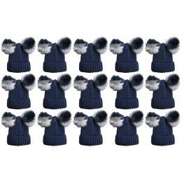15 Bulk Yacht & Smith Womens 3 Inch Double Pom Pom Ribbed Beanie Hat, Navy Value Pack