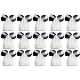 15 Bulk Yacht & Smith Womens 3 Inch Double Pom Pom Ribbed Beanie Hat, Cream Value Pack