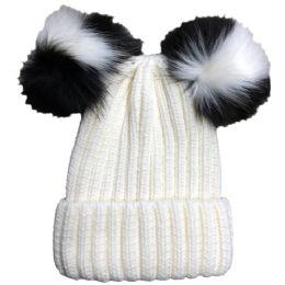 Bulk Yacht & Smith Womens 3 Inch Double Pom Pom Ribbed Beanie Hat, Cream