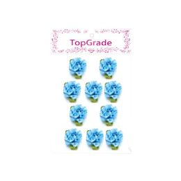 144 Bulk Satin Flowers Baby Blue