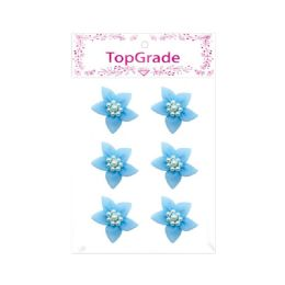 144 Bulk Satin Flower With Pearls Baby Blue