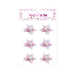 144 Bulk Satin Flower With Pearls Baby Pink