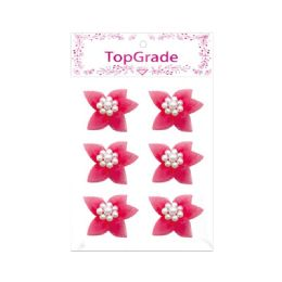 144 Bulk Satin Flower With Pearls Hot Pink