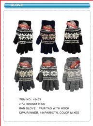 144 Bulk Mens Winter Gloves Snowflake Design