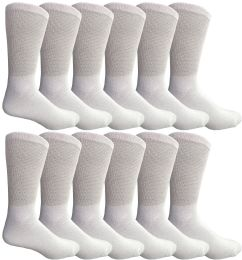 12 Bulk Yacht & Smith Men's King Size Loose Fit NoN-Binding Cotton Diabetic Crew Socks White Size 13-16