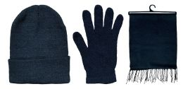 72 Bulk Yacht & Smith Pre Assembled Unisex 3 Piece Winter Care Sets,  Hat Gloves Scarf Set Solid Black