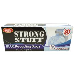 96 Bulk Blue Recycle Bag Thirty Gallon Ten Count