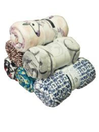 24 Bulk Assorted Printed Fleece Blankets Size 50 X 60