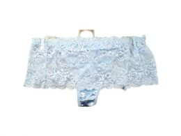 72 Bulk Light Blue Stretch Lace Underwear Thong Size 10