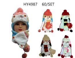 36 Bulk Winter Kids 3 Piece Warm Animal Hat Set With Fleece Lining