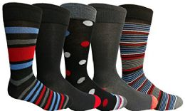 Bulk Yacht&smith 5 Pairs Of Mens Dress Socks, Colorful Fun Pattern Design, Casual (assorted m)
