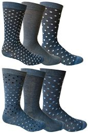 Bulk 6 Pairs Of Yacht&smith Dress Socks, Colorful Patterned Assorted Styles (pack c)