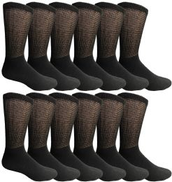 12 Bulk Yacht & Smith Men's King Size Loose Fit NoN-Binding Cotton Diabetic Crew Socks Black Size 13-16