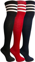 3 Bulk Yacht & Smith Womens Over The Knee Socks, Referee Style Thigh High Knee Socks , Striped Red, Navy, Black