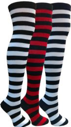 3 Bulk Yacht&smith Womens Over The Knee Socks Stripe Referee Knee High Socks