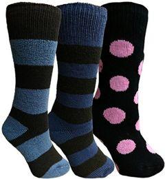 3 Bulk Yacht&smith 3 Pairs Womens Brushed Socks, Warm Winter Thermal Crew Sock