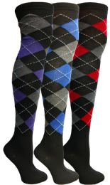 3 Bulk Yacht & Smith Womens Over The Knee Socks Thigh High Knee Socks Argyle Print