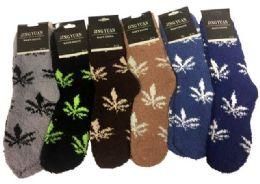 36 Bulk Men's Marijuana Leaf Fuzzy Sock