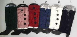 24 Bulk Knitted Boot Topper Crochet With 3 Big Buttons