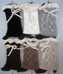 36 Bulk Knitted Boot Toppers Leg Warmers With Lacey Bows