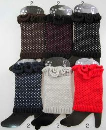 36 Bulk Knitted Boot Toppers Leg Warmers With Dots Assorted