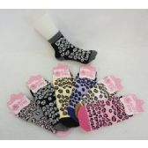120 Bulk Womens Leopard Print Warm Fuzzy Socks - Womens Fuzzy Socks