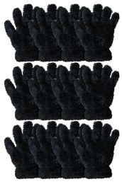 36 Bulk Kids Furry Gloves Solid Black , Warm And Fuzzy