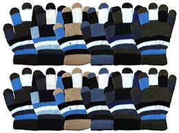 12 Bulk Yacht & Smith 12 Pair Kids Warm Winter Colorful Magic Stretch Gloves For Age 2-5