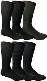 6 Bulk Yacht&smith Mens Dress Socks, Textured Solid Colors, Knit Black