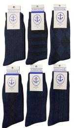6 Bulk Yacht & Smith Men's Navy Textured Dress Socks Size 10-13