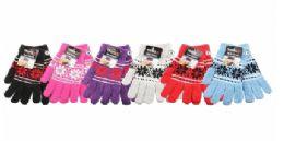 36 Bulk Womens Assorted Printed Warm Knit Glove