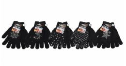 36 Bulk Womens Assorted Black Knit Glove With Stone Decal