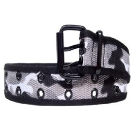 36 Bulk Mens Camo Belt In Black