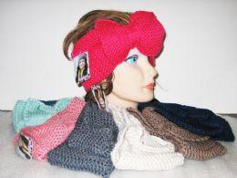 24 Bulk Assorted Color Knit Bow Headband