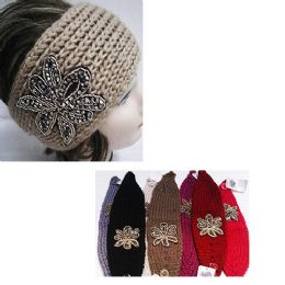 24 Bulk Assorted Color Knit Bow Headband With Beaded Floral Design