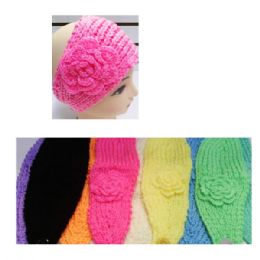 24 Bulk Assorted Color Knit Bow Headband With Flower Design