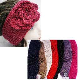 24 Bulk Women's Assorted Color Headbands With Sparkle And Flower Design