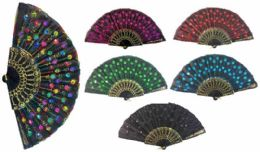96 Bulk Hand Fan With Feather Pattern Sequins Assorted Color