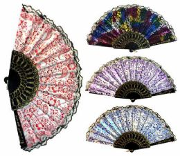 96 Bulk Hand Fan With Various Patterns Black Frame Assorted