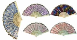 96 Bulk Hand Fan With Various Shiny Pattern Assorted Colors