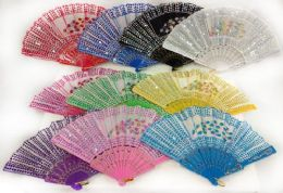 96 Bulk Colorful Fans With Sequins And Peacock Feather Assorted